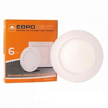 Встраиваемый светодиодный светильник ЕВРОСВЕТ 6Вт круг LED-R-120-6