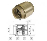 Обратный клапан  пружинный STA латунный шток 1 1/2