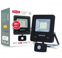 Прожектор светодиодный MAXUS с датчиком движения 30 Вт 5000K 1-MAX-01-LFL-3050S 2850 Лм
